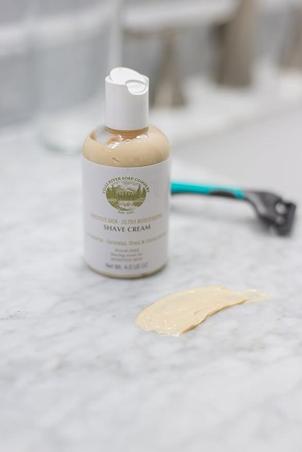 Piel sensible, crema de afeitar sin espuma natural e hidratante con avena, aloe vera, manteca de karité y de coco, 4 FL OZ: Amazon.es: Belleza