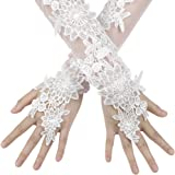 Flower Girls Fingerless Satin Lace Gloves Princess Evening Bridal Wedding Gloves Long Floral Mittens Elbow Length for Costume Bridal Proms Fancy Dress Evening Party