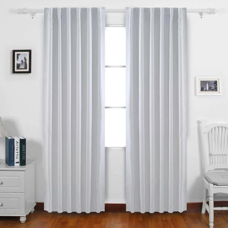 Blackout Curtains Back Tab And Rod Pocket Drapes 52 X 95 Grey White 1 Set Ebay