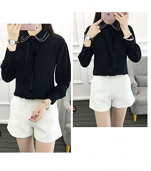 Womens Blouse White Shirts Formal Chiffon Work Work Wear Office OL Tops Shirts at Amazon Womens Clothing store: