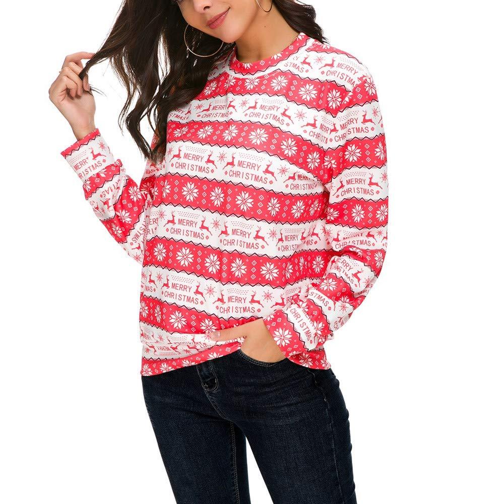Weihnachtspulli Christmas Sweater Damen Sweatshirt Pullover Merry Christmas Rentier Weihnachten Pulli Strickjacke Rentier Bluse Tops Blumen Drucken Langarm Weihnachtspullover Warme T-Shirt Rovinci Sweatshirt-DE1801109