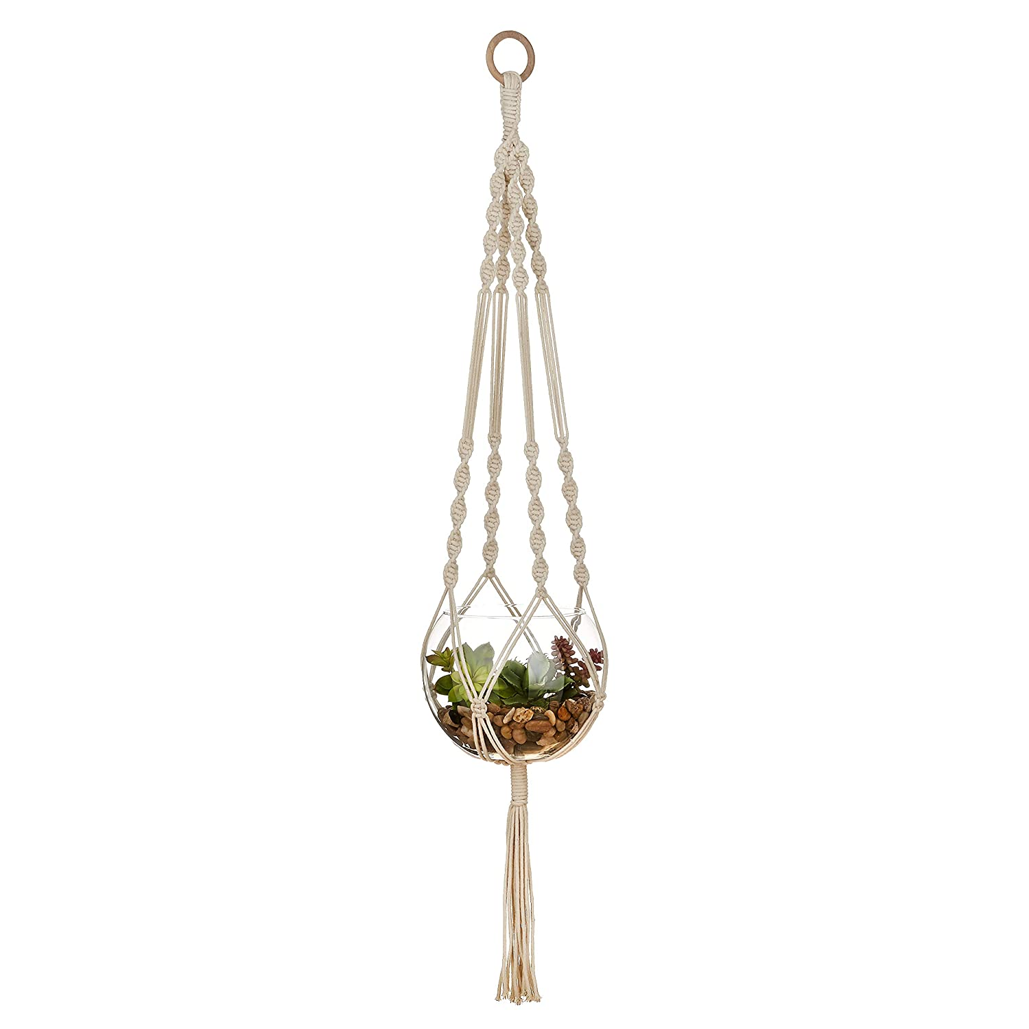 Macrame Plant Hangers, Hanging Basket, Hanging Plant Holder, Bohemian Decor, Plant Pots Indoor, Hanging planters for Indoor Plants, Natural Cotton, Indoor Planter, Handmade Outdoor Plant Hangers
