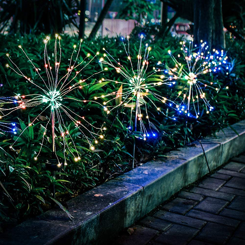 Solar Firework Light, Epicgadget 105 LED Multi Color Outdoor Firework Solar Garden Decorative Lights for Walkway Pathway Backyard Christmas Decoration Parties (2 Pieces)
