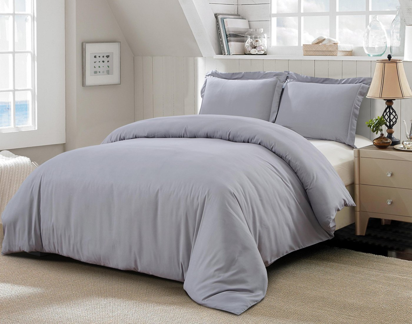 Word Of Dream Brushed Microfiber 3 Pc Solid Duvet Cover Set, Full/Queen, Gray by Word Of Dream