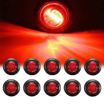 "NBWDY 10pc 3/4"" Inch Mount RED LED Clearance Bullet Marker lights, Side LED marker lights for trailer Truck RV Car Bus Van: Automotive"