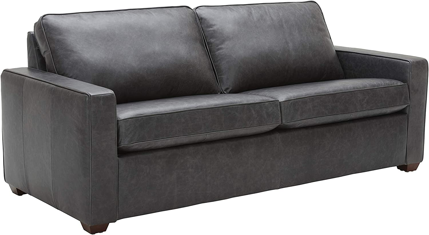 """Rivet Andrews Contemporary Leather Sofa with Removable Cushions, 82""""W, Black"""