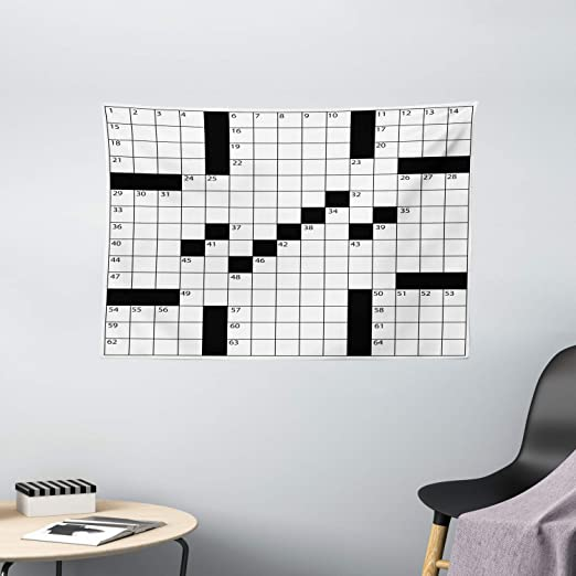 Amazon Com Ambesonne Word Search Puzzle Tapestry Blank Newspaper Style Crossword Puzzle With Numbers In Word Grid Wall Hanging For Bedroom Living Room Dorm 60 W X 40 L Inches Black And White