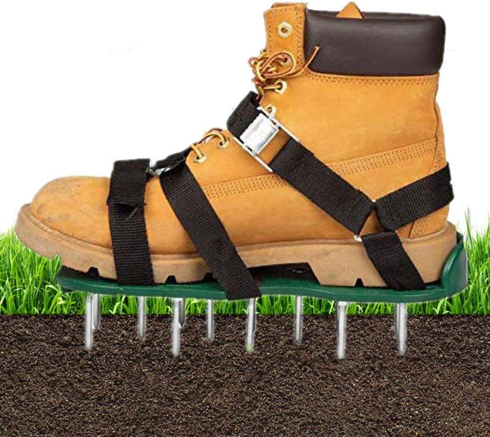 KUNYAO Lawn Aerator Shoes 3 Adjustable Straps+1 X-Strap and Heavy Duty Metal Buckles Spiked Sandals Shoes One Size Fits All for Aerating Lawn Soil Yard Grass