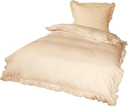 mit Reißverschluss Bettwäsche Baumwolle 135x200 cm beige einfarbig UNI 4 tlg