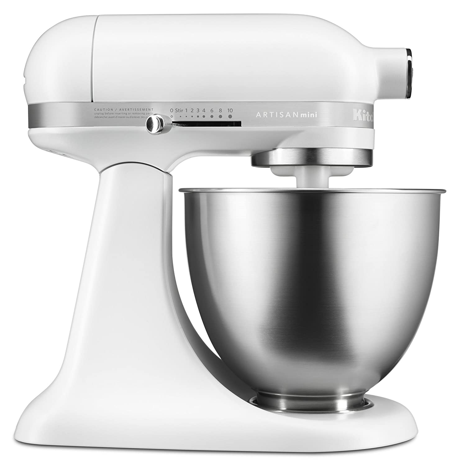 KitchenAid KSM3311XFW Artisan Mini Series Tilt Head Stand Mixer, 3.5 Quart,  Matte White