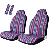 Copap Seat Covers Universal for Front Seat Baja Stripe Colorful Bucket Covers for Car, SUV & Truck (2 seat Covers+2 seat Belt Covers)