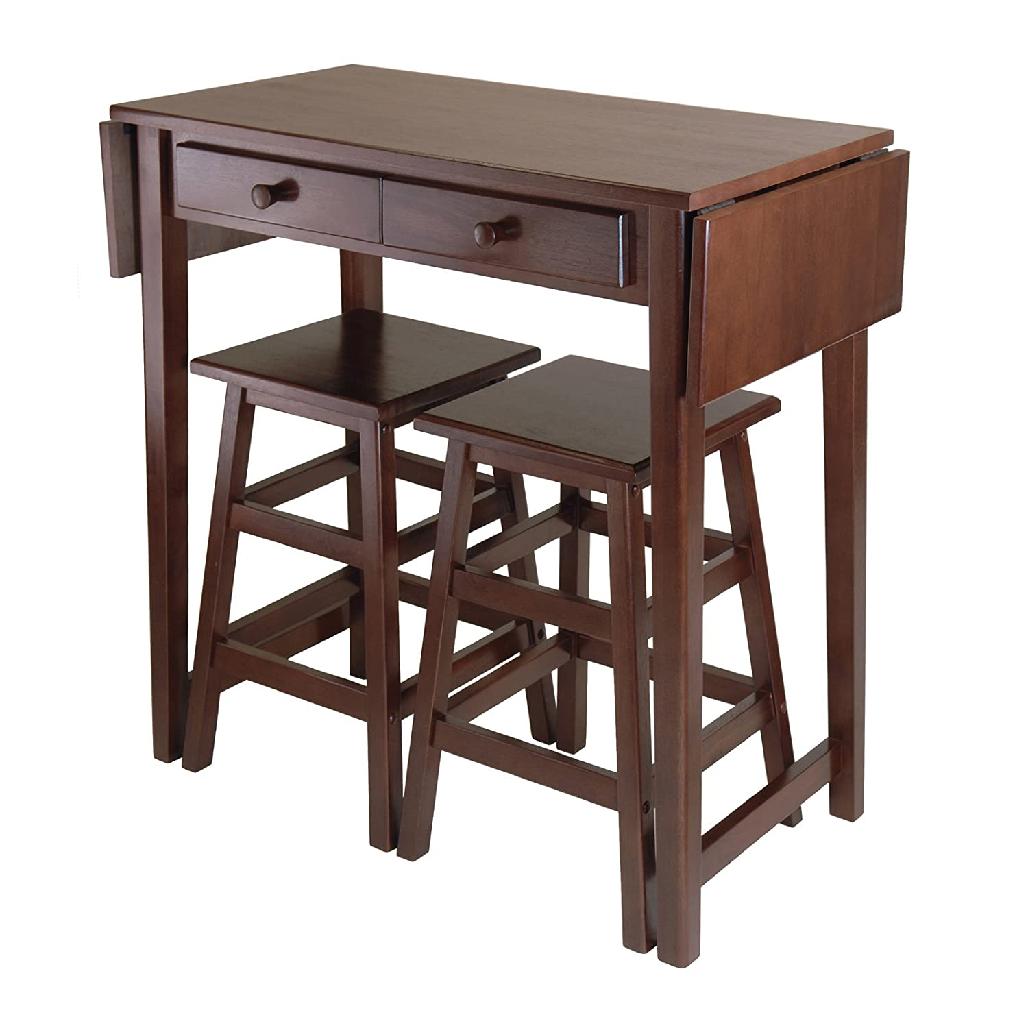 Amazon.com   Winsome Mercer Double Drop Leaf Table With 2 Stools   Table U0026  Chair Sets
