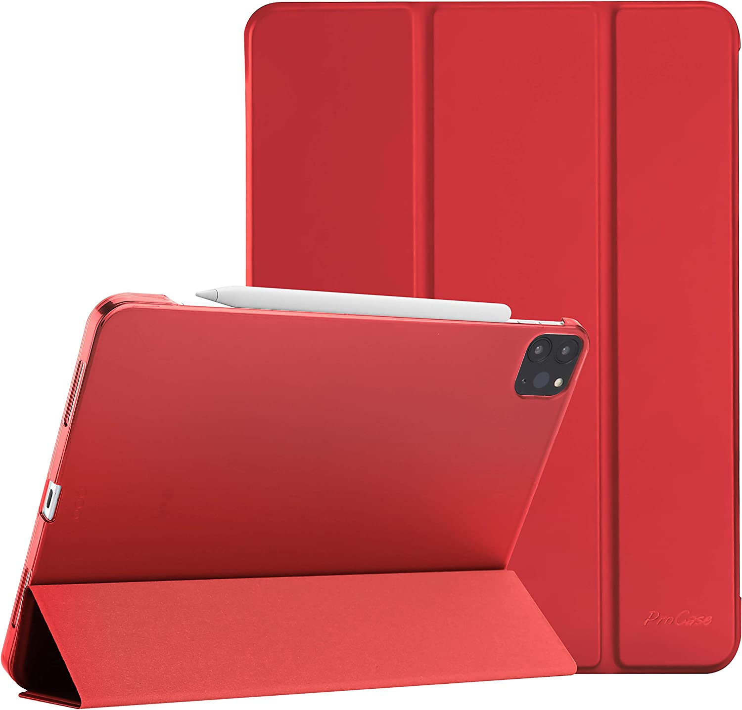 "ProCase iPad Pro 12.9 Case 4th Generation 2020 & 2018, [Support Apple Pencil 2 Charging] Slim Stand Hard Back Shell Smart Cover for iPad Pro 12.9"" 4th Gen 2020 / iPad Pro 12.9"" 3rd Gen 2018 -Red"
