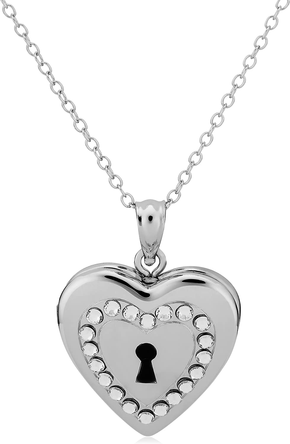 Sterling Silver Polished Heart Locket 18 inch silver chain and luxury gift box
