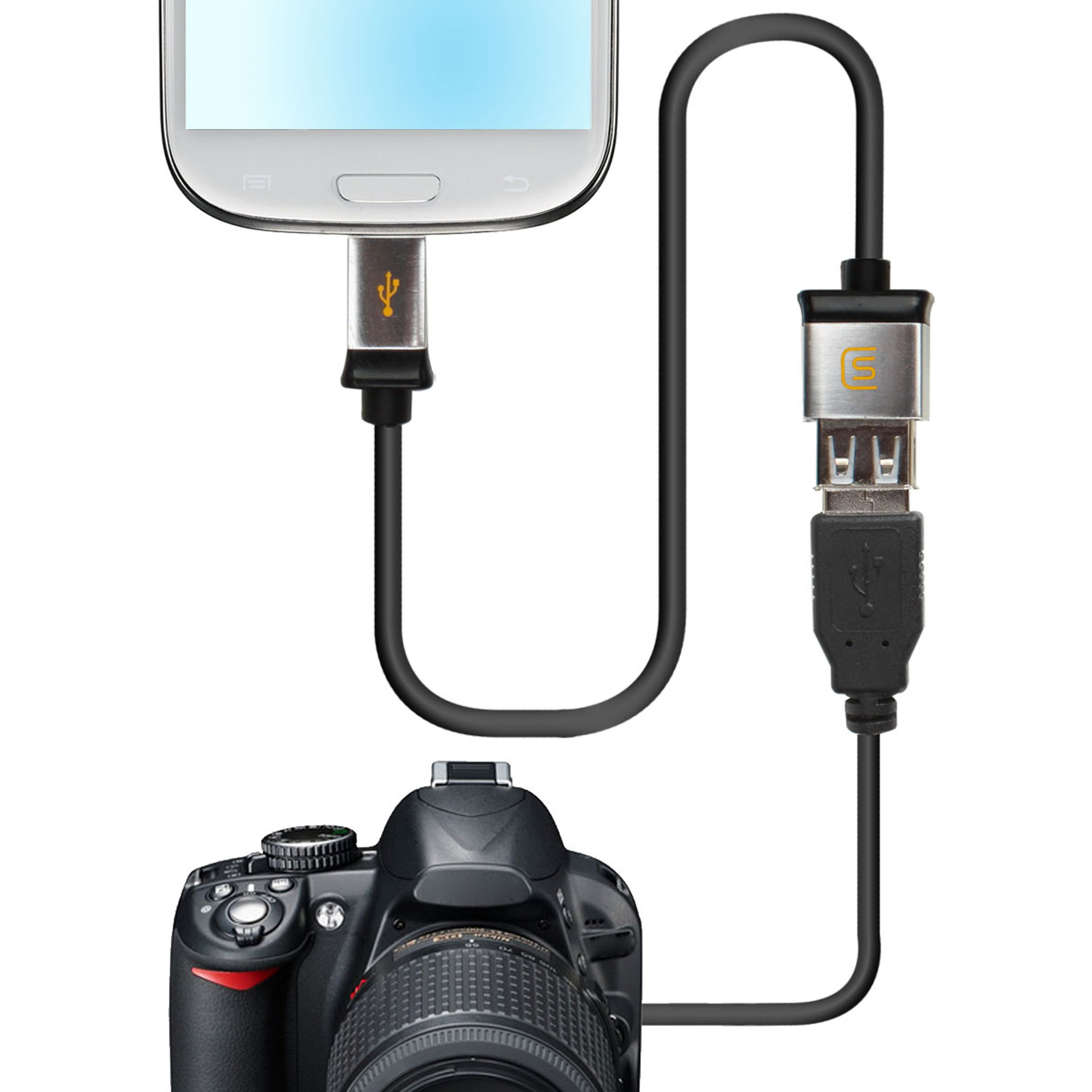 OTG Micro USB to USB 2.0 Male to Female Adapter Cable by DATASTREAM - Connect DSLR Cameras & Flash Drives to Compatible On-The-Go Host Android / Windows Tablets for Remote Controller & Photos Export