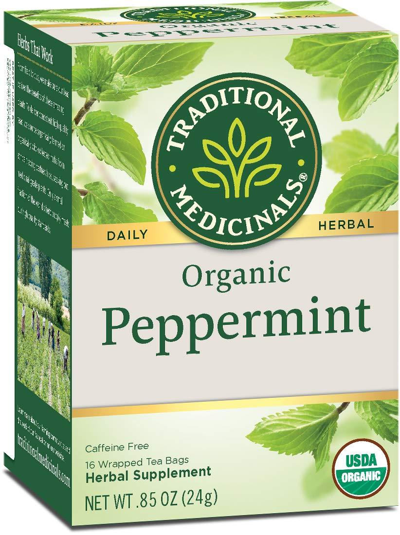 Traditional Medicinals Organic Peppermint Herbal Leaf Tea, Alleviates Digestive Discomfort, 16 Tea Bags