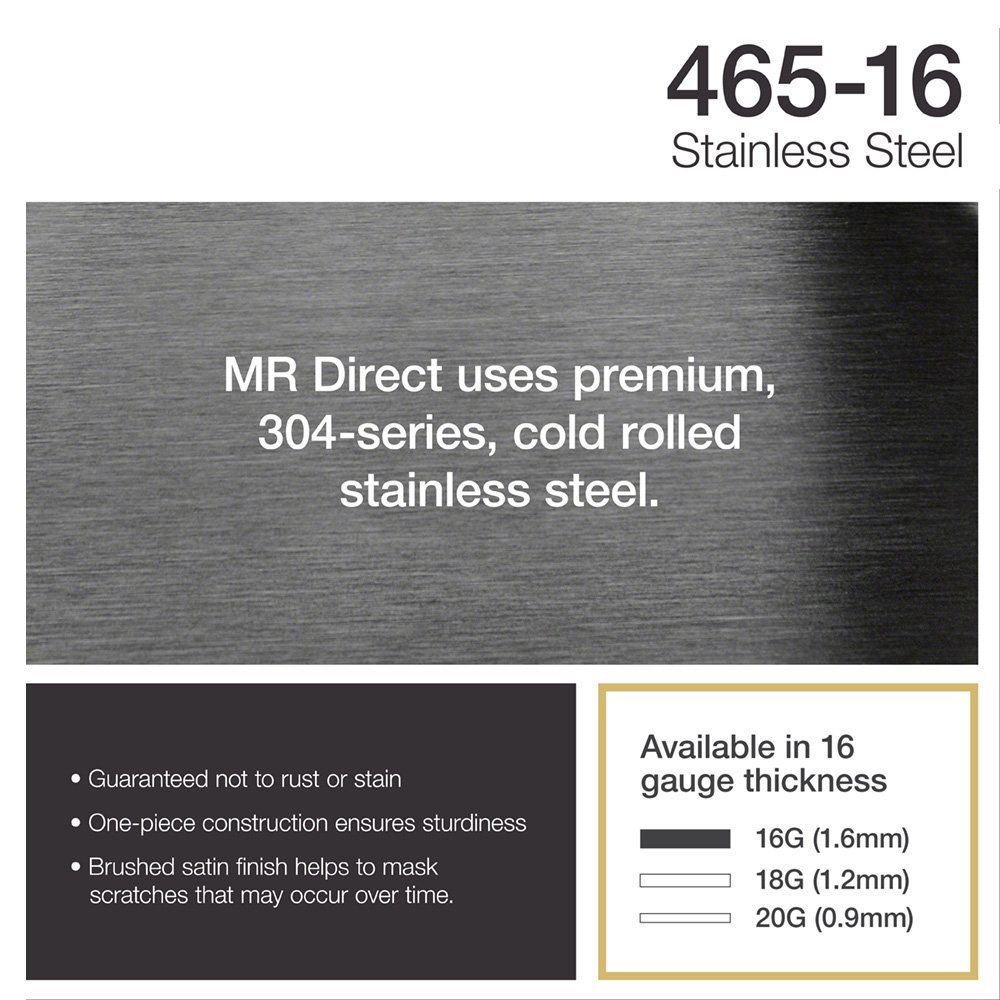 465 16-Gauge Stainless Steel Kitchen Ensemble (Bundle - 4 Items: Sink, Basket Strainer, Sink Grid, and Cutting Board) by MR Direct (Image #6)