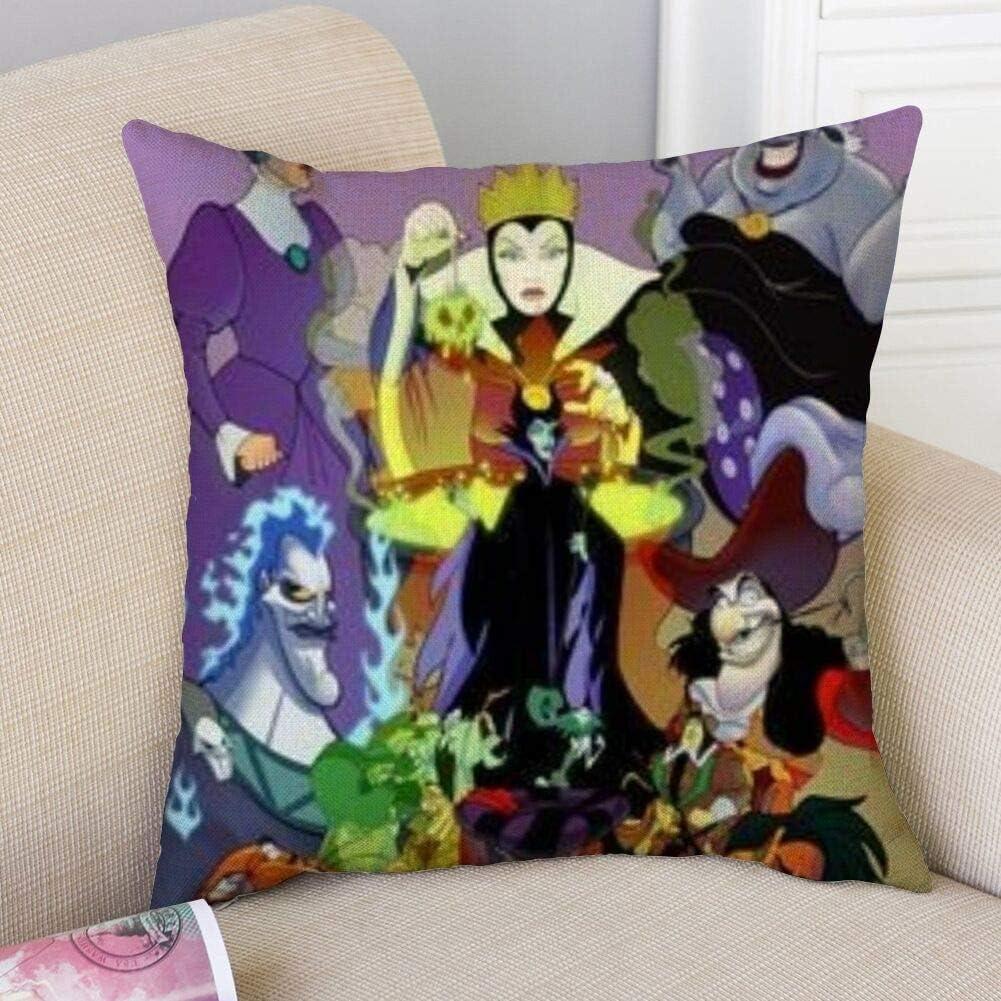 DISNEY COLLECTION Pillowcase Linen Bedding Cartoons Characters Disney Villains Fashion Cute Durable Sofa Square Pillowcase Decoration 16x16 Inch