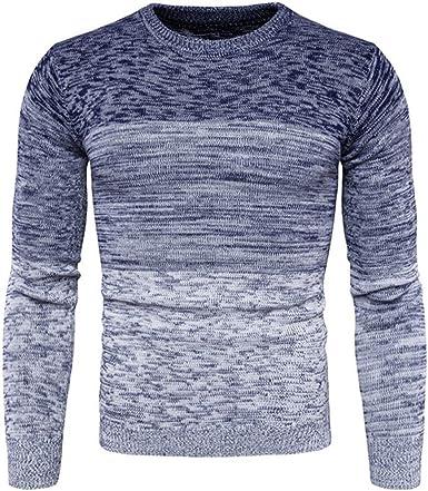 Nuevo mens cuello redondo gradiente color suéter Moda hombre ...