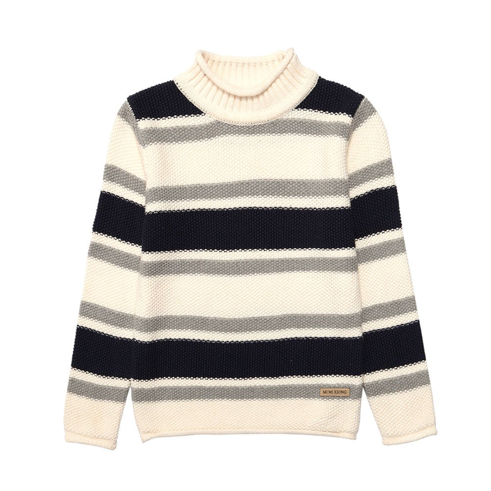 MiMiXiong MMX Boys Colorful Striped Winter Pullovers Sweaters Autumn Casual Children Knitwear Outerwear (3T, White) by MiMiXiong (Image #2)