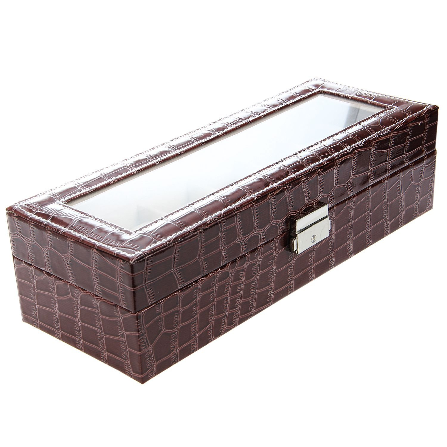 SODIAL(R) Faux Leather Watch Case Storage Display Box Organiser Jewelery Glass Top Size:6 Grid Crocodile Brown