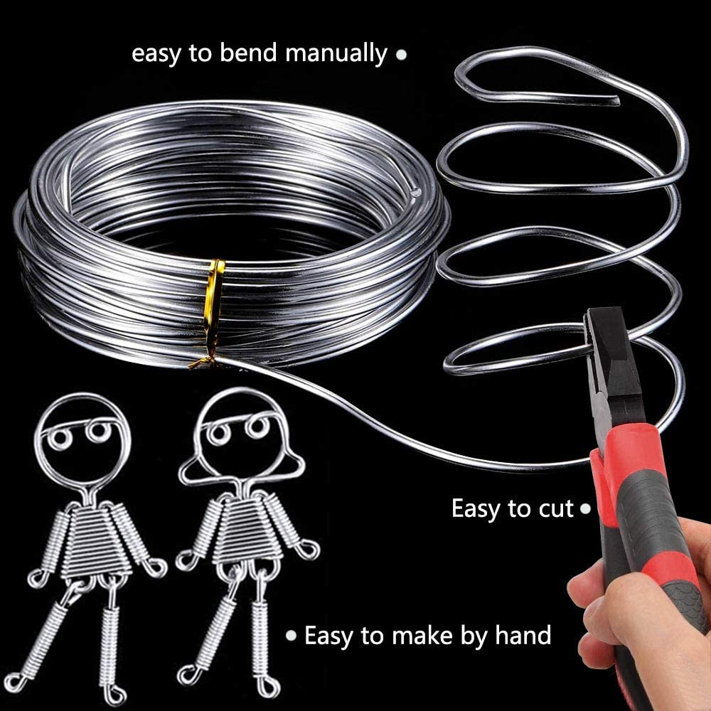 LUCY WEI 3 Pcs Rolls Silver Aluminum Wire,1mm 2mm 3mm Aluminum Wires for DIY Jewellery Making Beading Modelling 16.4 Feets//Roll