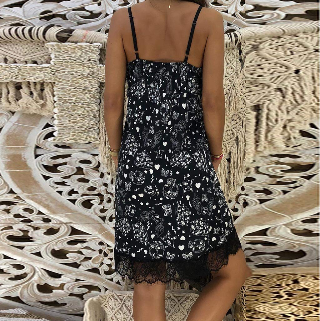 Ballad Women's Dress,Sexy Party Fashion New,Tight Sleeveless Patchwork V-Neck Sling Skirt Black by Ballad (Image #3)