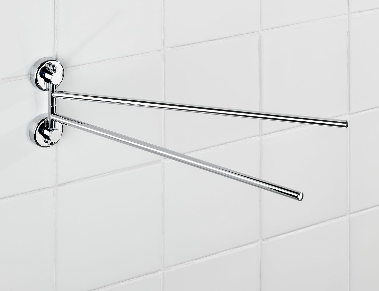Stahl Befestigen ohne bohren 4 x 11 x 37.5 cm Chrom WENKO 19667100 Power-Loc Handtuchhalter mit 2 Armen Sion
