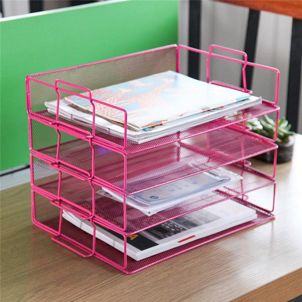 Rart Metal Desk Organizer,Multi-Layer Storage Rack Display Shelves Fashion Book Shelf Storage Rack-Pink 34x25x24.5cm(13x10x10inch)