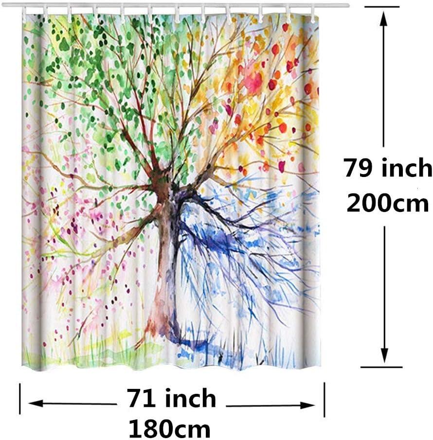 ZSZT Tenda da Doccia in Poliestere 180 x 200 cm Impermeabile Poliestere Tenda Bagno Colorate Albero Decoration Lunga