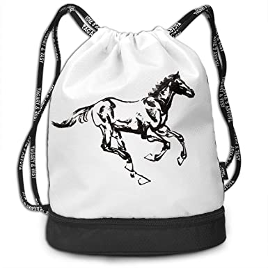 5535303160 Amazon.com  Funny Dance Gift Unisex Drawstring Fashion Beam Backpack A  Black-and-white Horse Print Backpack Travel Gym Tote Cosmetic Bag  Clothing