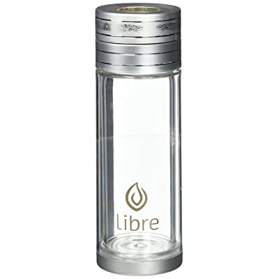 Libre 9oz Glass Tea Infuser Bottle with Mesh Strainer for Loose Leaf Tea, Matcha, Fruit, and Cold Brew Coffee, BPA-Free, Classic Silver