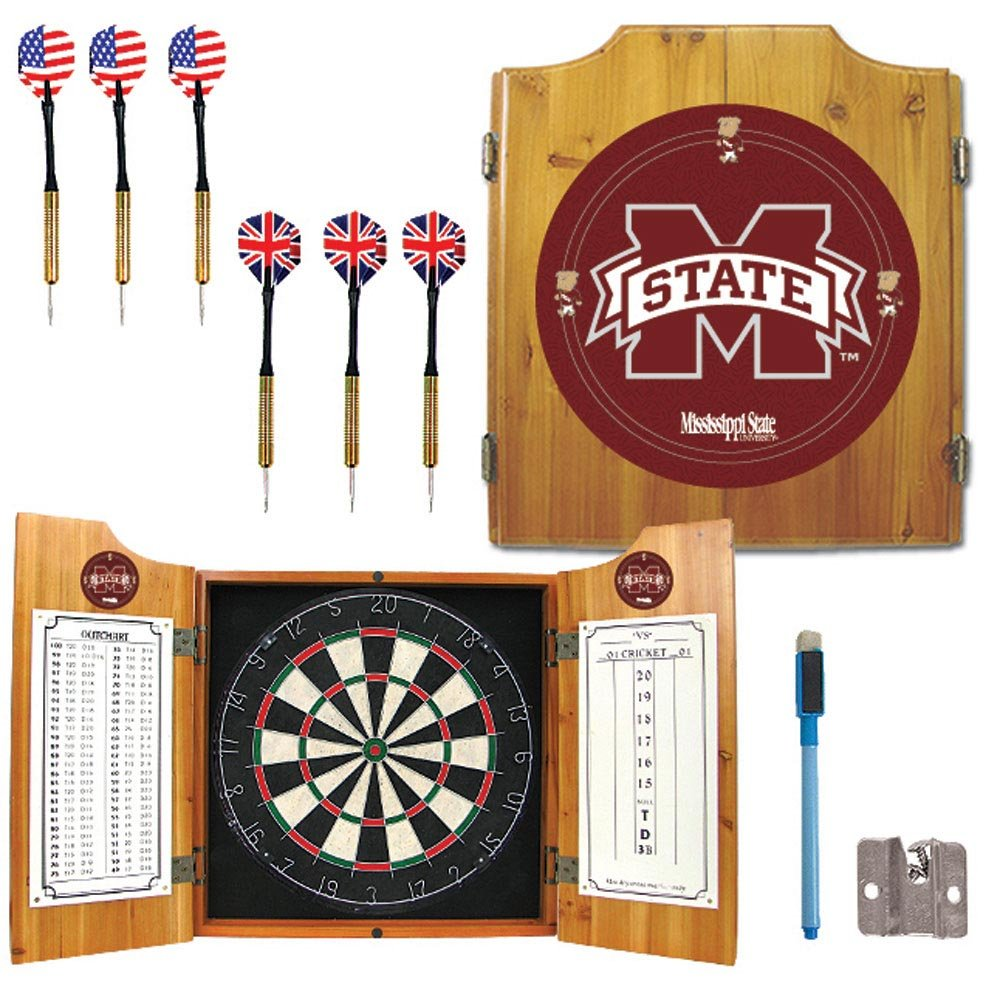 Ncaa mississippi state university wood dart cabinet set for Kitchen cabinets lowes with amazon logo stickers