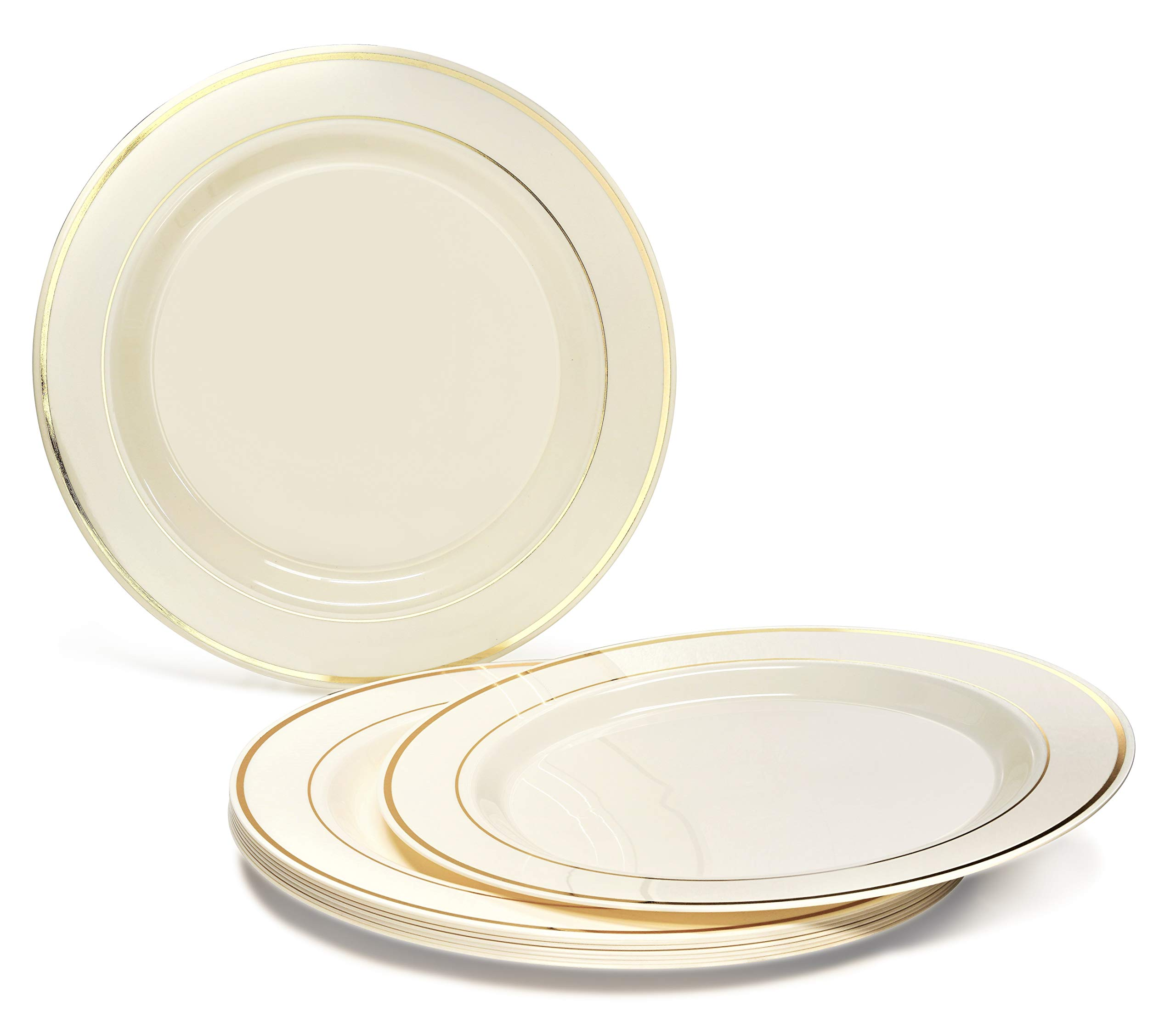 OCCASIONS 120 PACK, Heavyweight Disposable Wedding Party Plastic Plates (9'' Luncheon Plate, Ivory/Gold Rim) ...