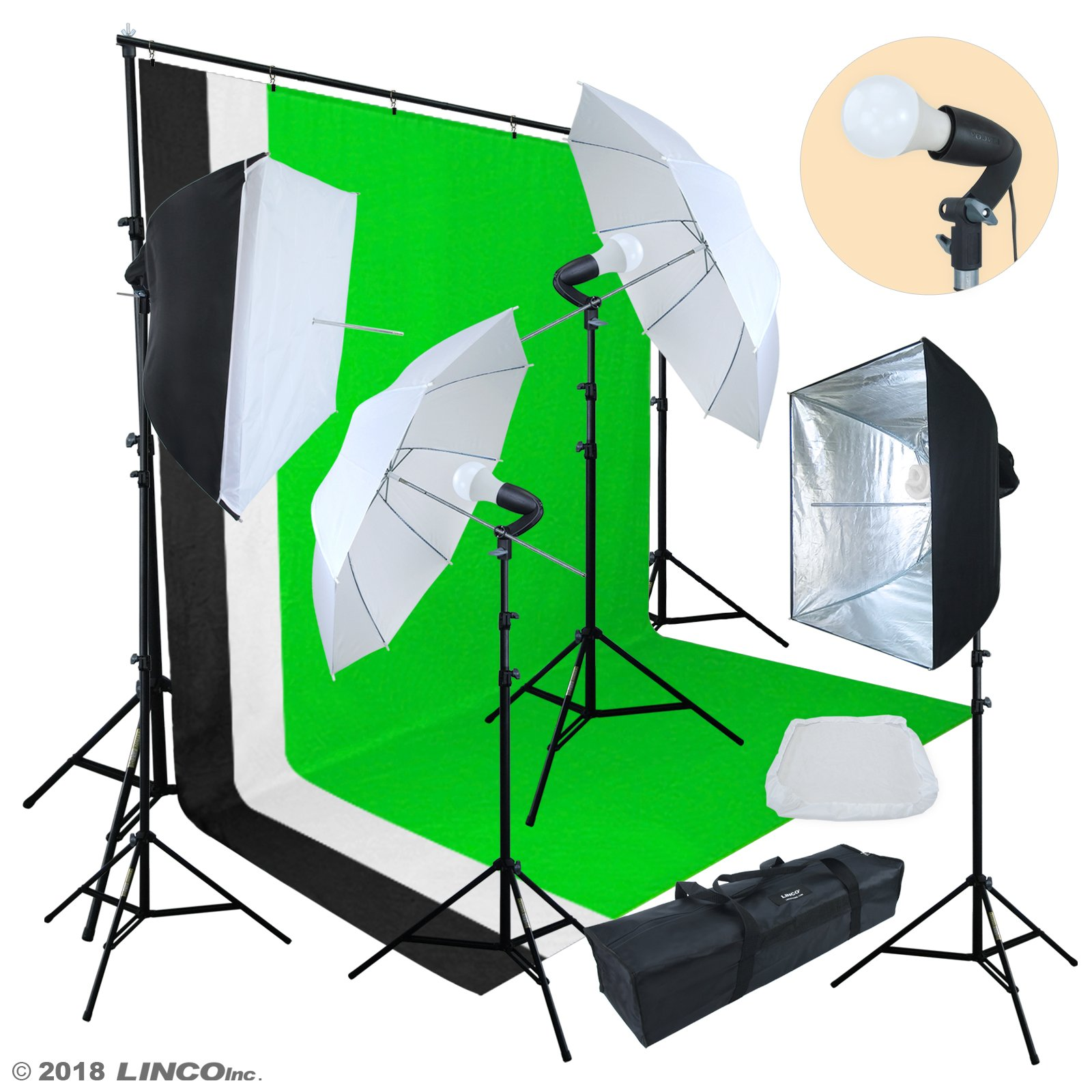 Linco Lincostore Photo Video Studio Light Kit AM174 - Including 3 Color 5x10ft Backdrops (Black/White/Green) Background Screen by Linco