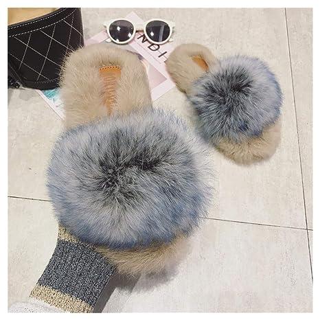 OMFGOD Señoras Moda Zapatillas Comodidad Peletería Artificial Goma Talón Plano Interiores Exteriores,Blue,35
