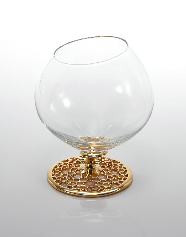 Lujo coñac Copa Cristal, merdinger diseño, 18 K real chapado en oro y titanio, Metal y cristal Fusion Composición, elegante coñac Copa de cristal con ...