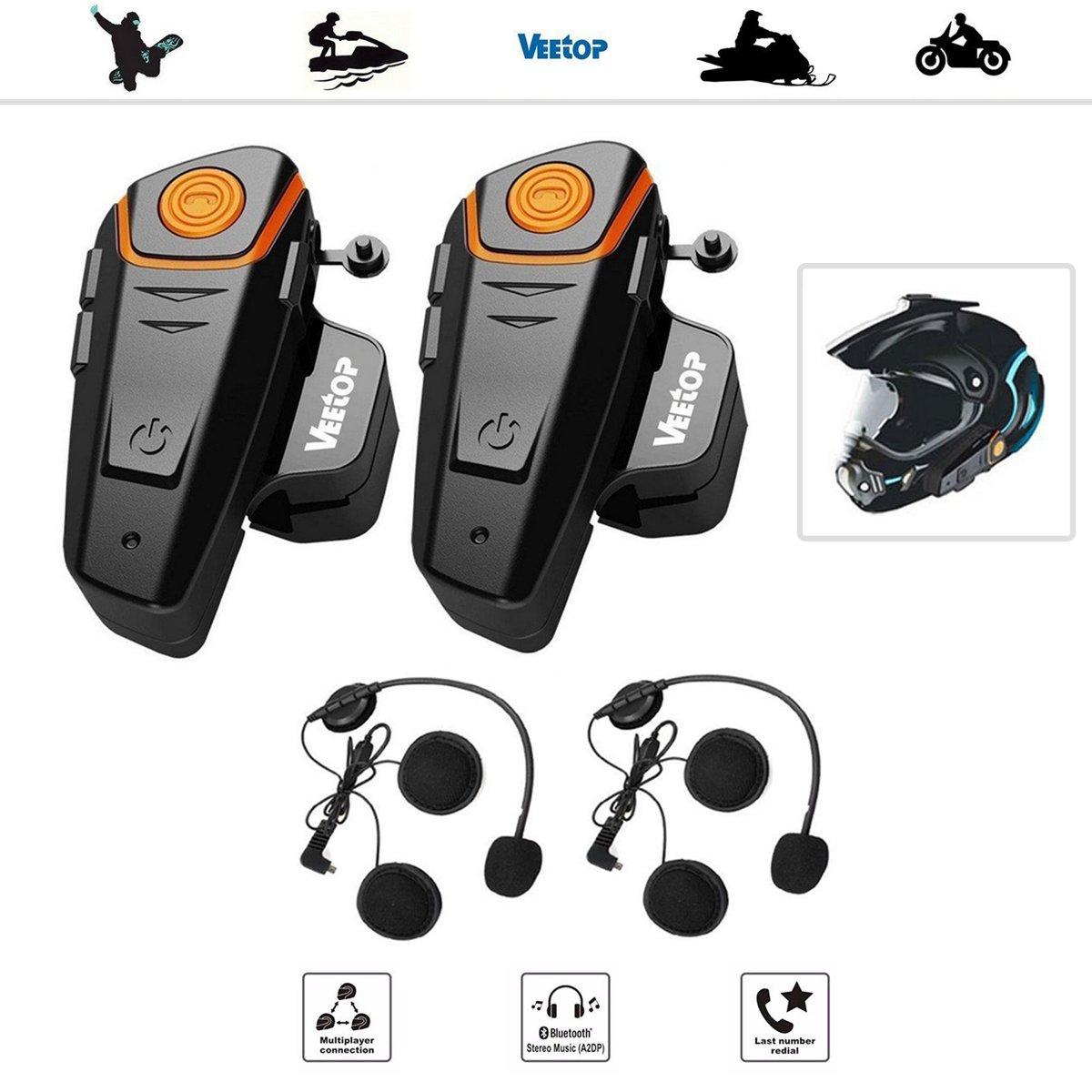 Veetop - Auriculares de interfono para motocicleta con Bluetooth resistente al agua, 2 x 800 m, para 2 o 3 conductores y audio de 2,5 mm para Walkie Talkie ...