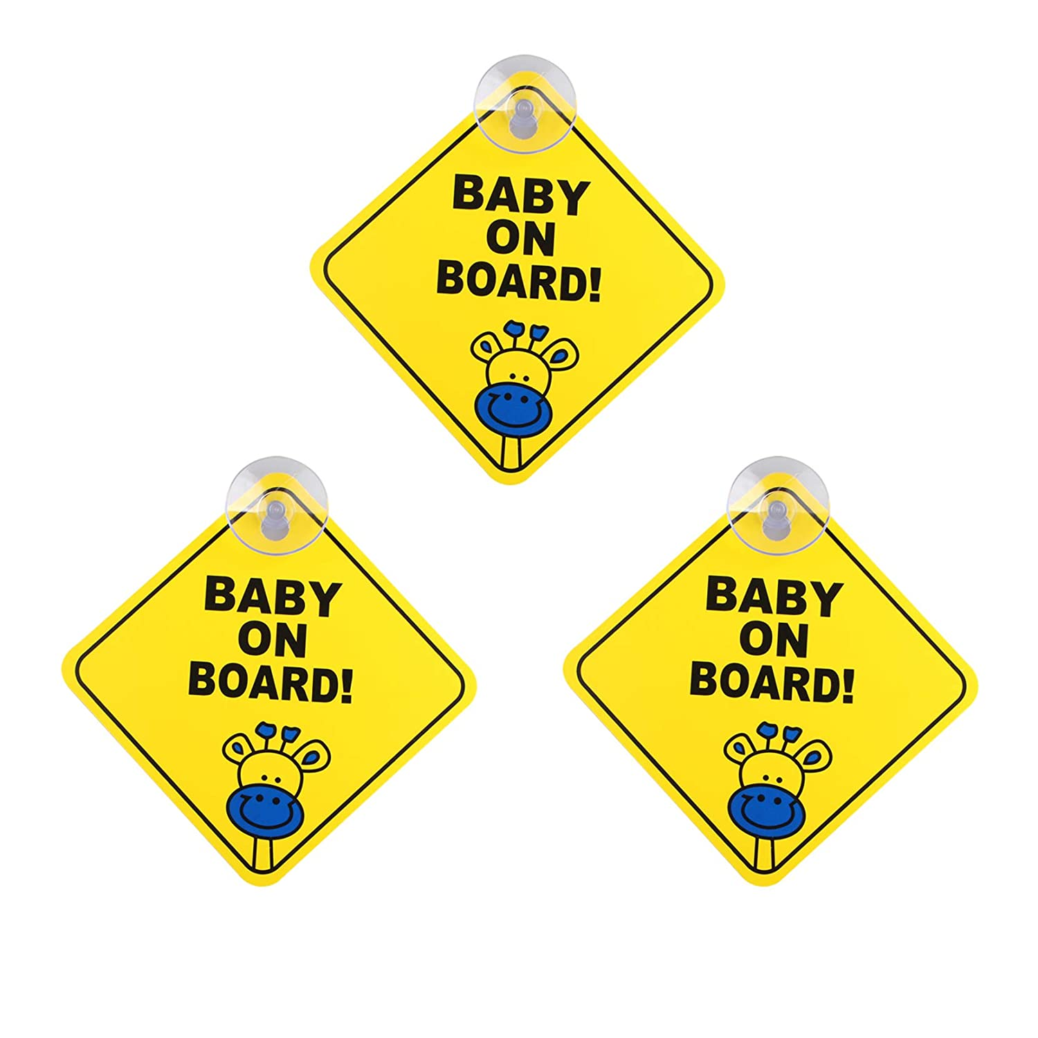 3Pcs Baby On Board Sign for Car Warning Safety Suction Cup Sucker Sticker Waterproof Notice Board for Drive, Removable