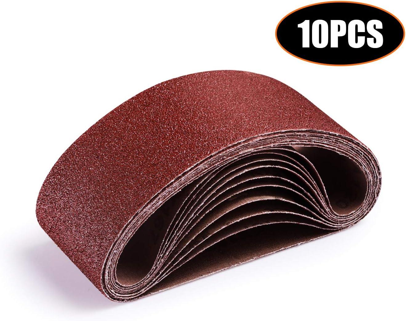 TACKLIFE Sanding Belt 3x18-Inch, 10Pack (2 Each of 40, 60, 80, 100, 120 Grits) Aluminum Oxide Belt for Belt Sander, Woodworking, Metal Polishing ASB01A