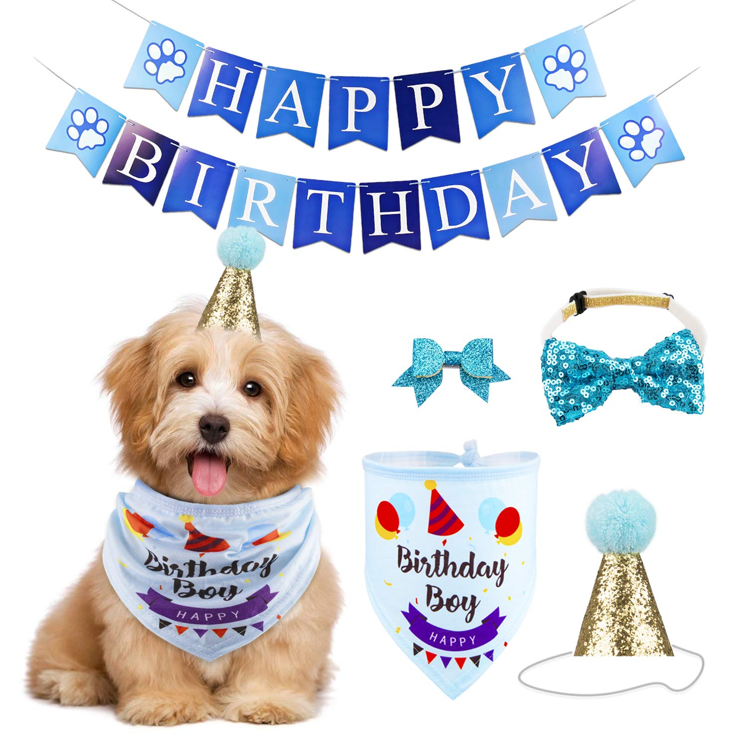 GAGILAND Dog Birthday Bandana Hat Banner Set Dog Boy Girl Cute Bow Tie Scarf Birthday Party Supplies Decorations(Blue…