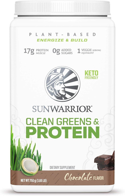 Sunwarrior Clean Greens & Protein - Organic Greens Powder Superfood, No Added Sugar, Non-GMO, Soy Free, Gluten Free, Dairy Free, Keto Friendly, Green Superfood Powder
