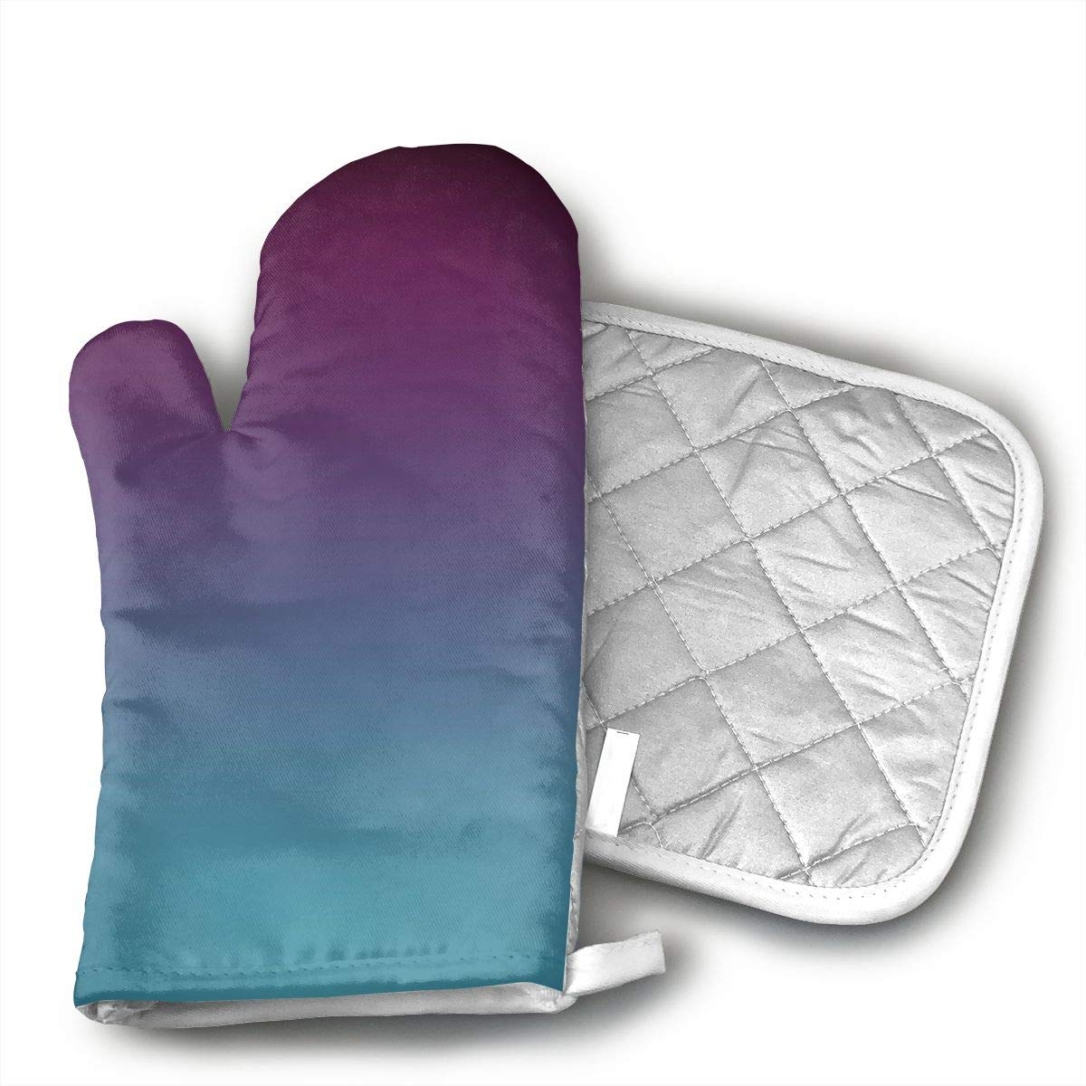 Mulberry Purple Blue Teal Fade Oven Mitts and Pot Holders Set with Polyester Cotton Non-Slip Grip, Heat Resistant, Oven Gloves for BBQ Cooking Baking, Grilling