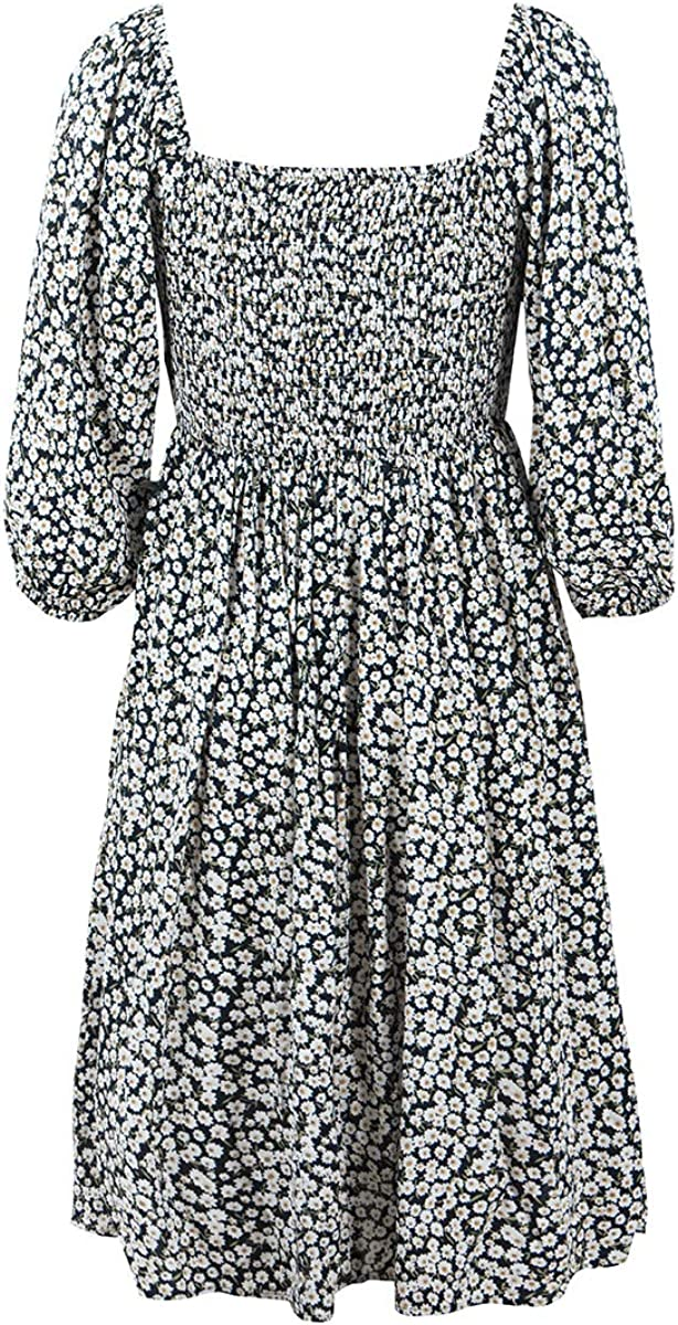 Womens Casual Pleated Swing Dress,Long Sleeve Off Shoulder Floral Print Button Up Backless A-Line Vintage Flowy Party Dress