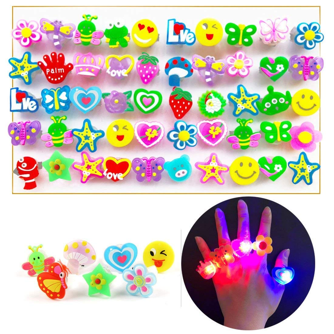 ChangSheng Glow Rings Led Party Supplies,50 Pcs Random Pattern Light Up Rings for Graduation Ceremonies, Birthday Parties and Parties by ChangSheng (Image #1)