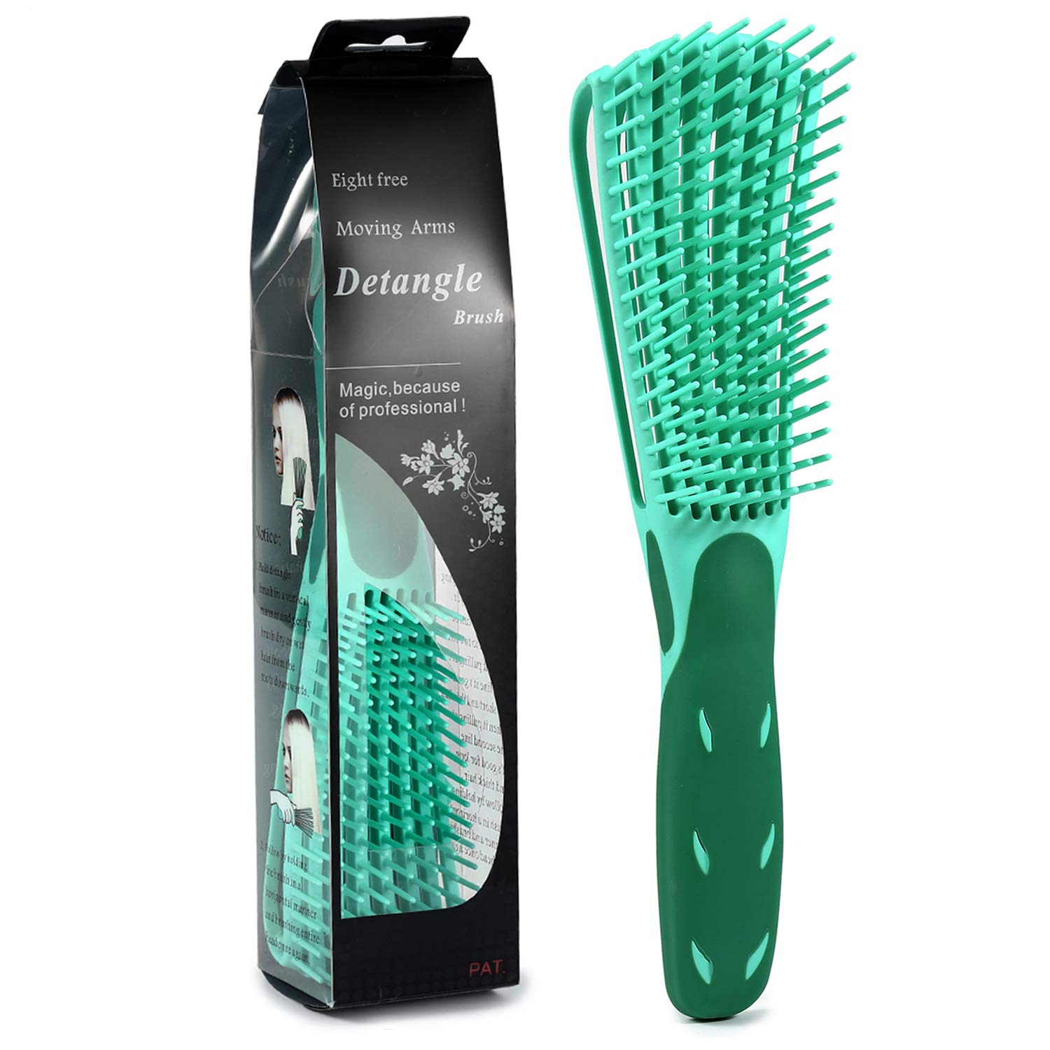 BESTOOL Detangling Brush for Natural Hair-Detangler for Afro America 3a to 4c Kinky Wavy, Curly, Coily Hair, Detangle Easily with Wet/Dry, Apply Conditioner/Oil - 1 Pack (Green)