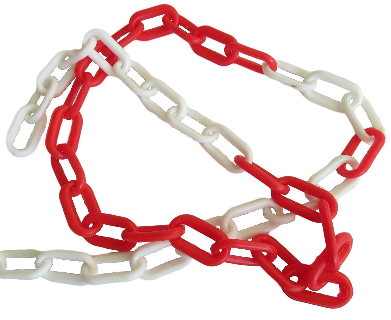 Cadena de plástico rojo/blanco por metros (6 x 39 x 20 mm) – 3 m 5 m 10 m 25 m – Longitud a elegir, 3m