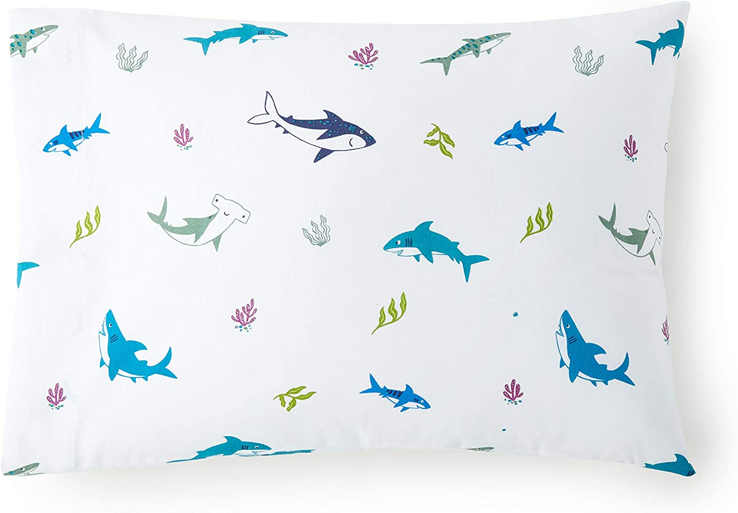 Wildkin 100% Cotton Hypoallergenic Toddler Pillow Case for Boys and Girls, Measures 19 x 13.5 Inches, Fits a Standard Toddler Pillow, Certified Oeko-TEX Standard 100, Olive Kids (Shark Attack)