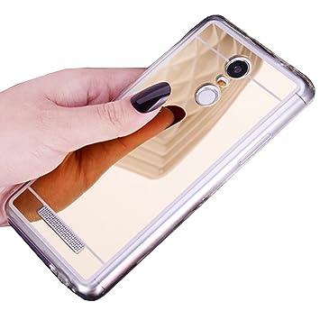 LXHGrowH Funda Espejo Silicona Gel TPU para Xiaomi Redmi Note 3 / Redmi Note 3 Pro Color Oro