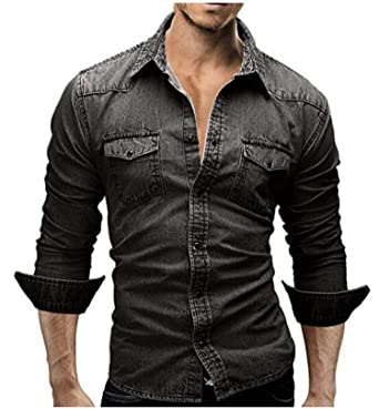 Summer-lavender-men shirt Denim Shirt Men Denim Shirt Retro Men Shirt Long Sleeve Camisa Hombre M-XXXL at Amazon Mens Clothing store: